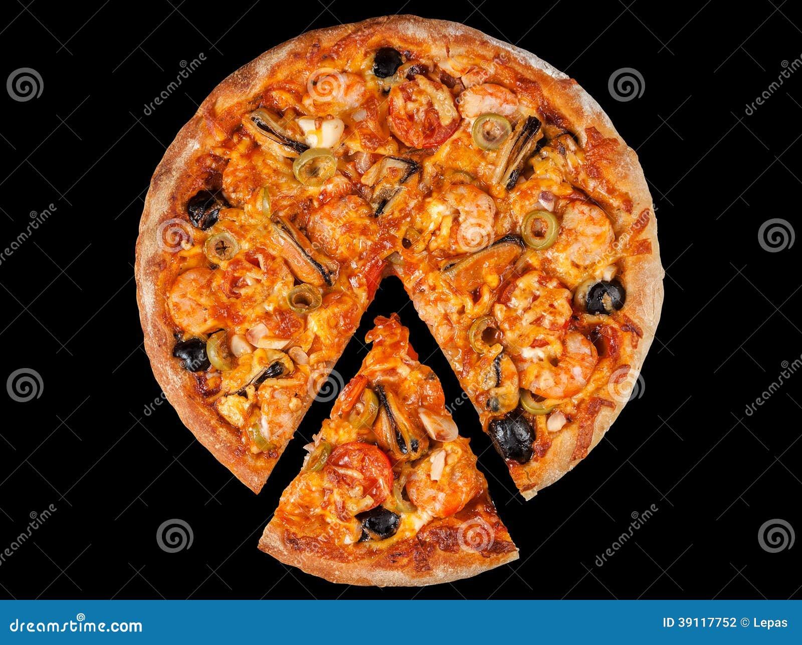 Pizza met zeevruchten srimp op zwarte