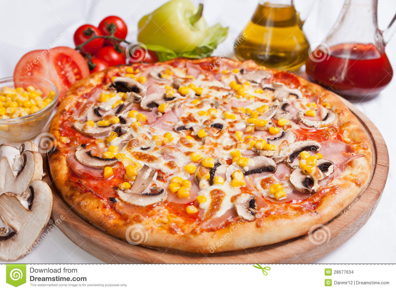 pizza milano with corn and mushrooms stock photo image of fast hardy 28677634. Black Bedroom Furniture Sets. Home Design Ideas