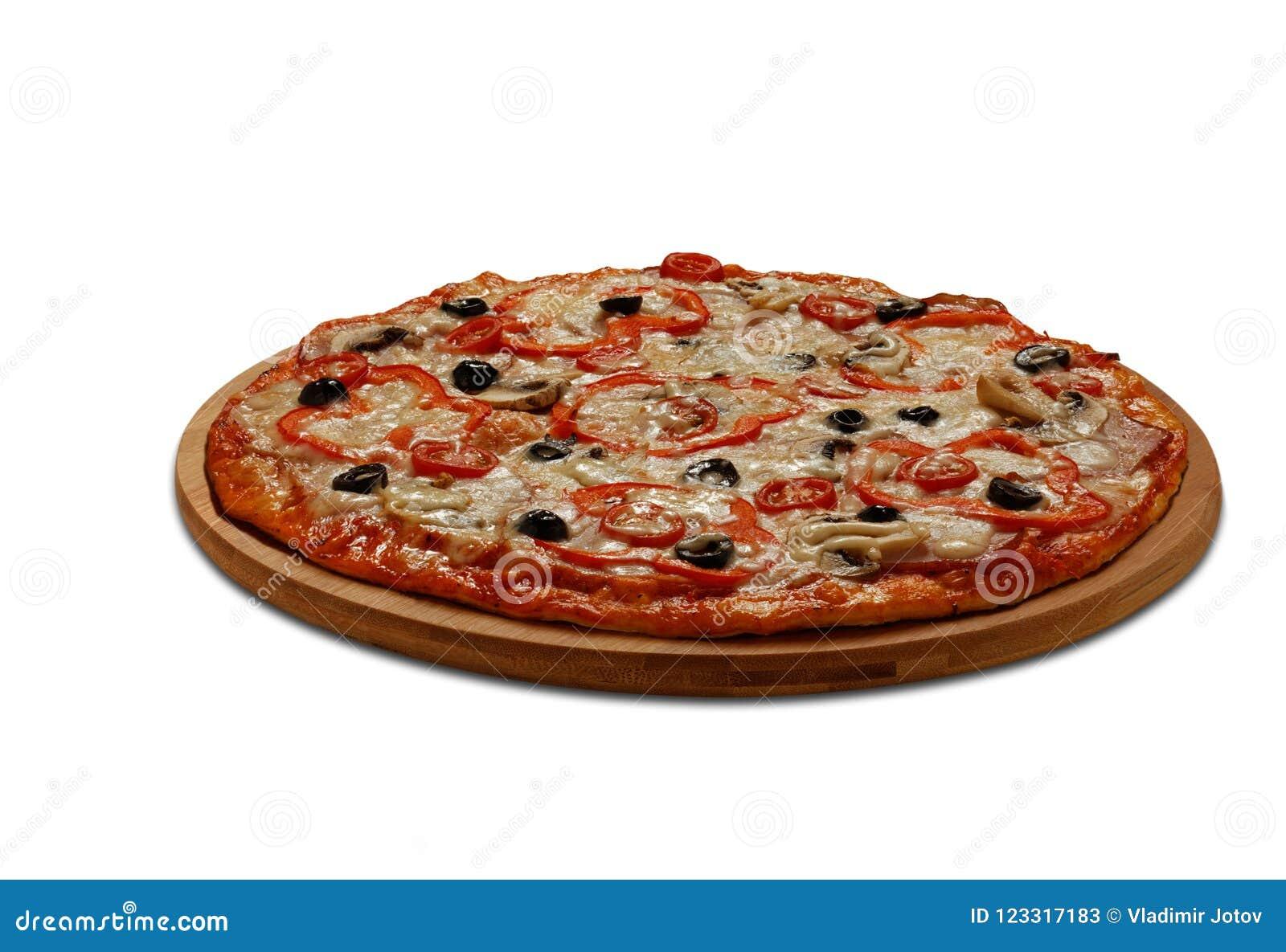 Pizza mit Tomaten und papper; Fleisch und mashrooms Auf Weiß