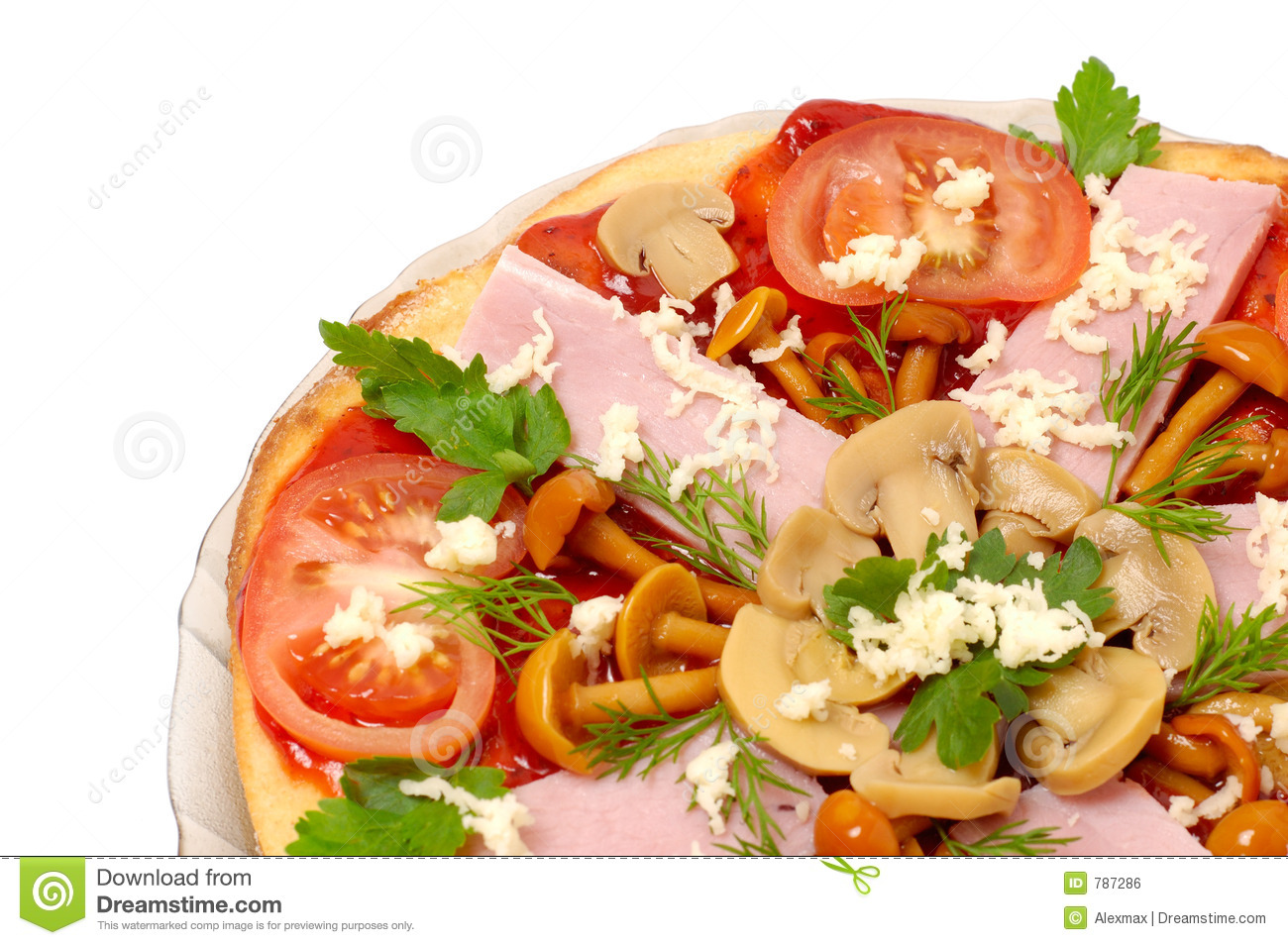 Pizza with mushrooms and ham isolated