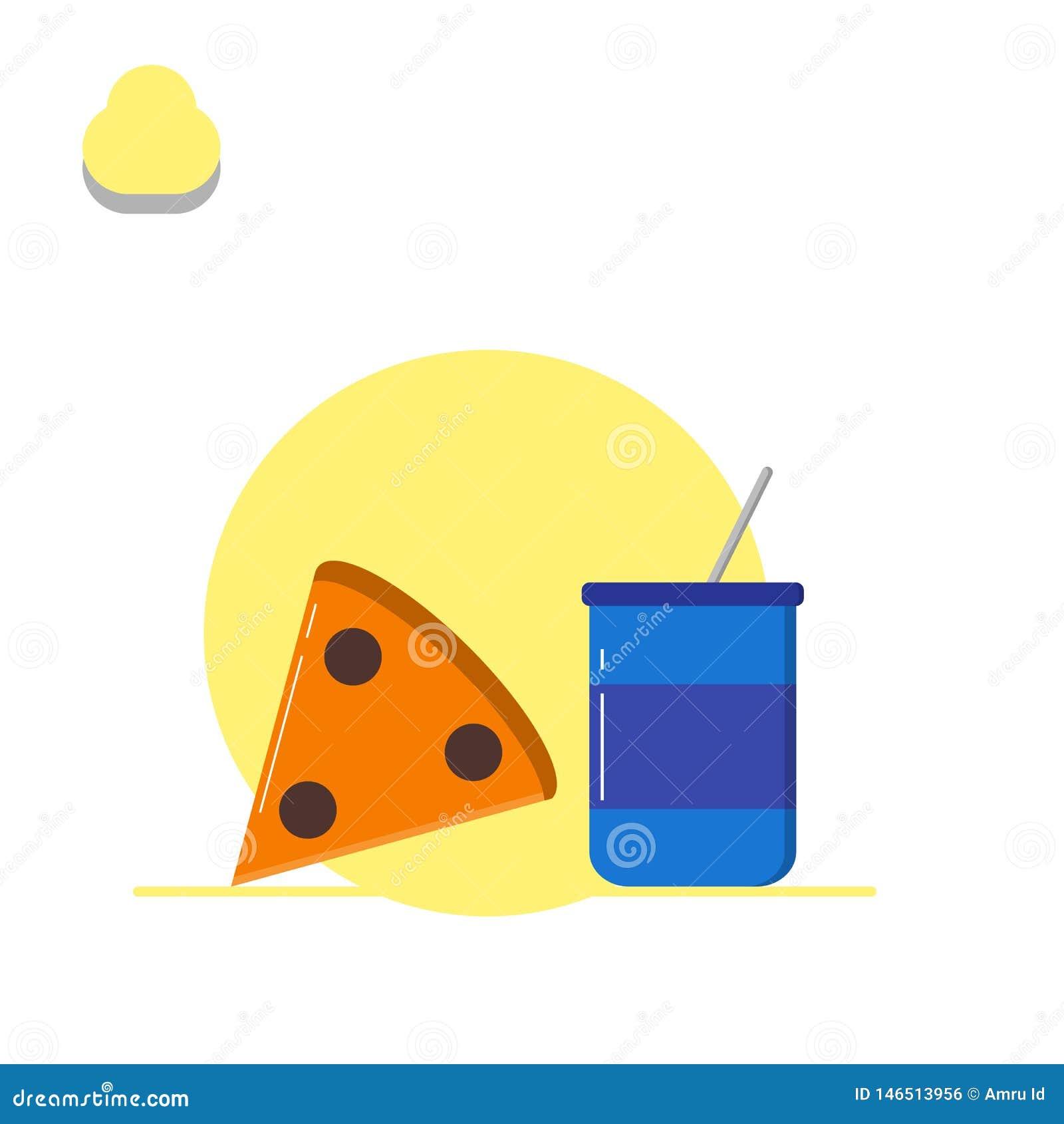 Pizza- och drinkillustration - vektor