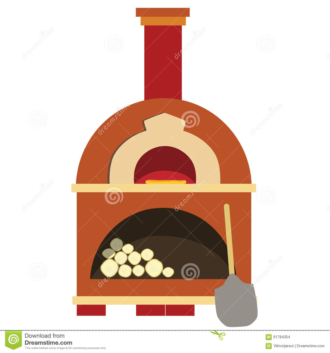 Pizza oven, brick oven, isolated on white pizzeria.