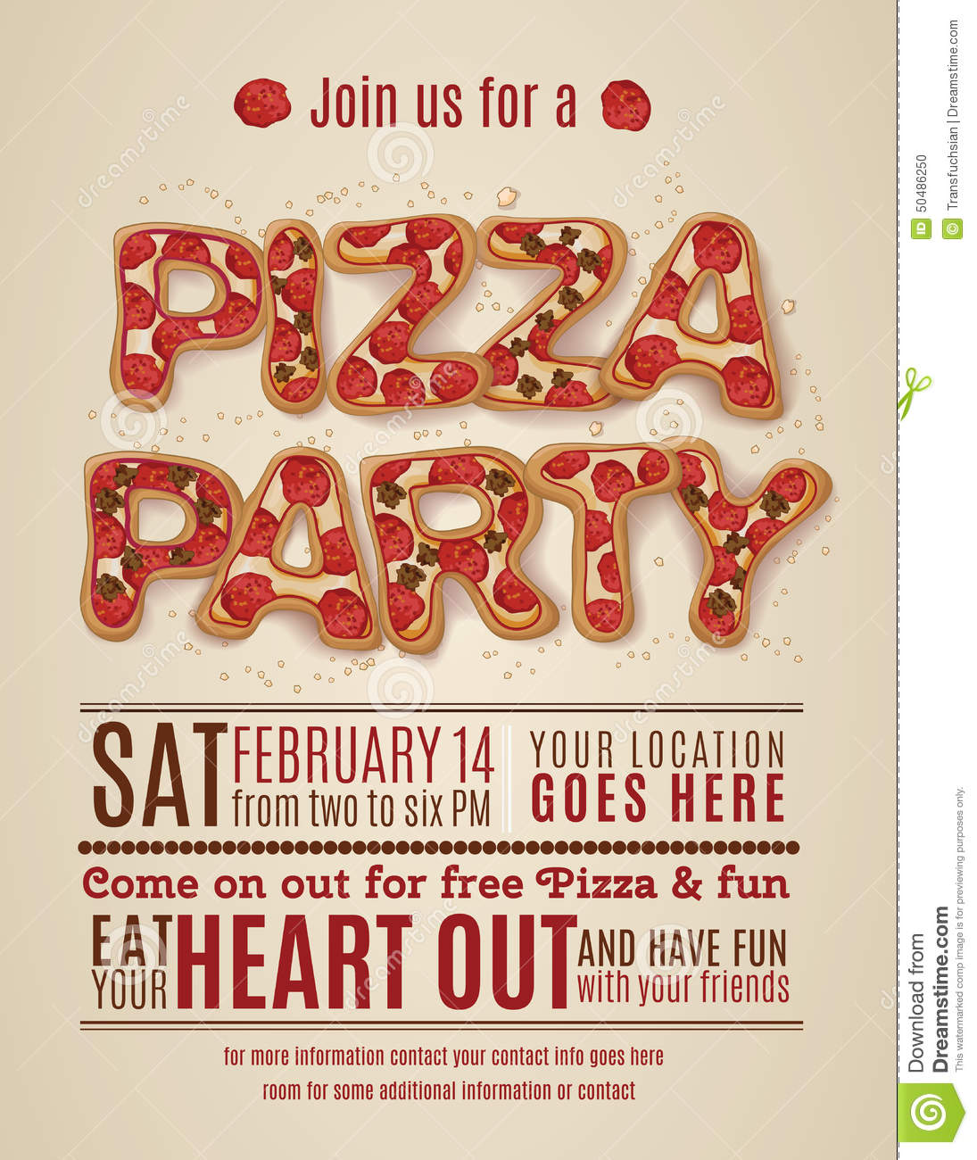 Stock Illustration Pizza Party Invitation Template Vector Flyer Design Image50486250 on free printable movie ticket templates