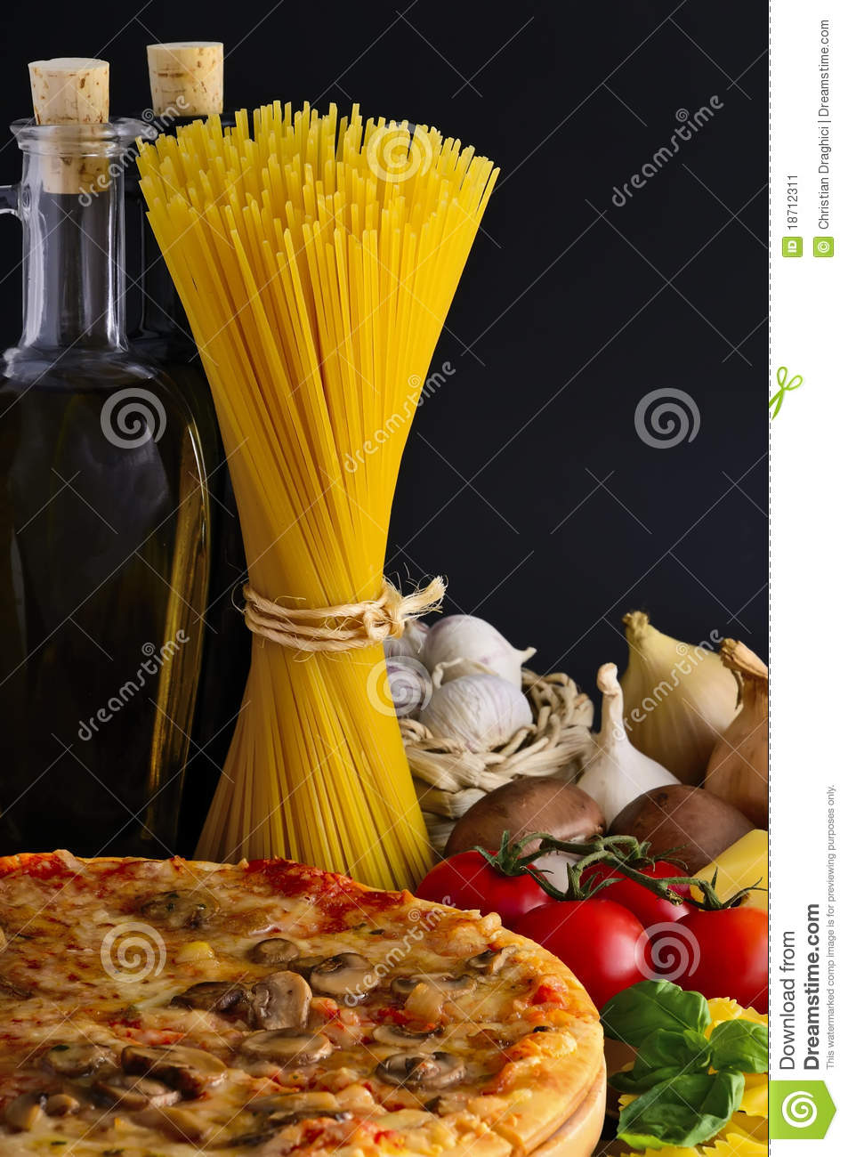 Pizza, pasta and ingredients