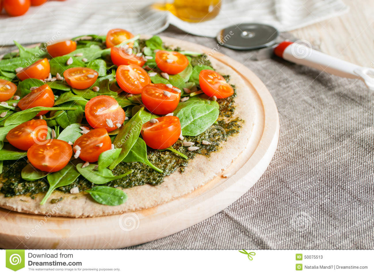Pizza With Pesto, Spinach And Cherry Tomatoes Stock Photo - Image ...
