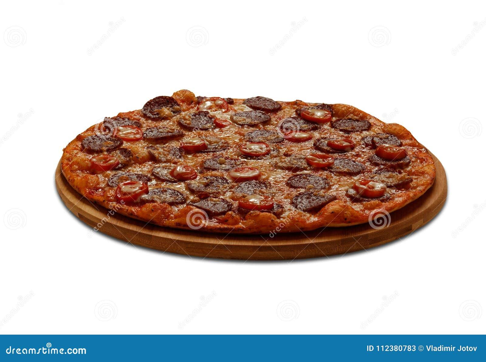 Pizza Pipperoni Auf weißem Hintergrund