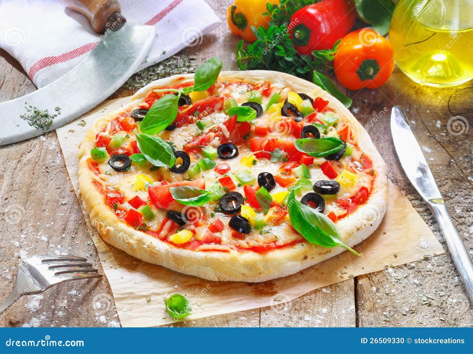 Pizza recentemente cozinhada do vegetariano