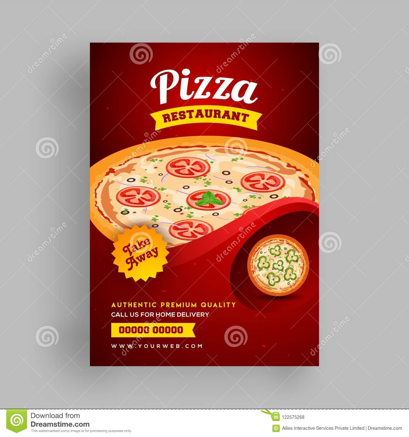 pizza restaurant flyer or template design for food corners stock