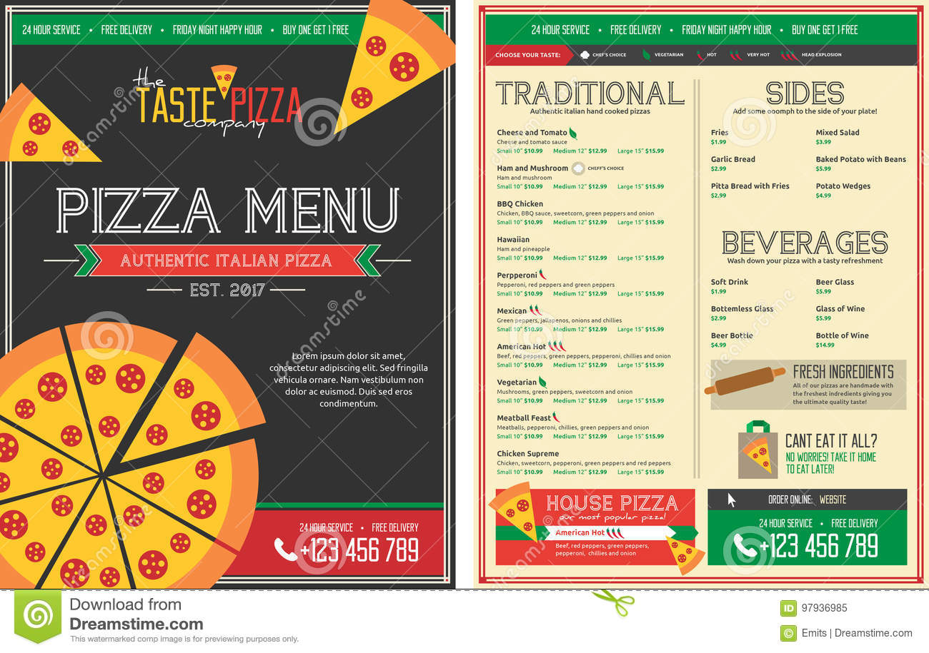 Pizza Restaurant Menu Template Front And Back Stock Illustration - Delivery menu template