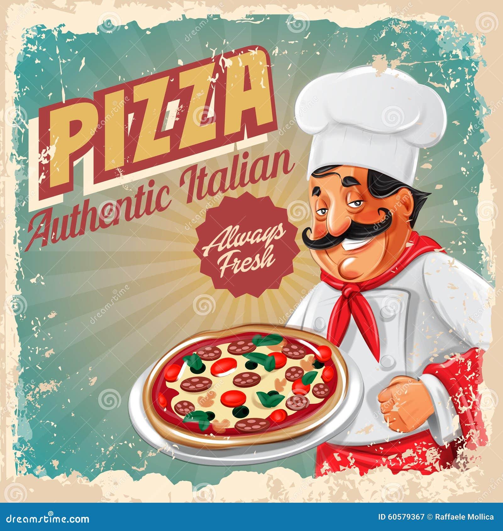 pizza retro banner chef stock vector
