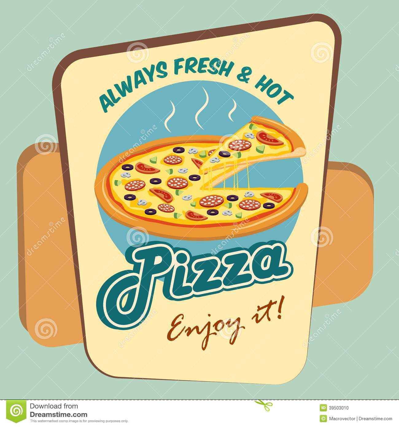 Pizza round advertising poster