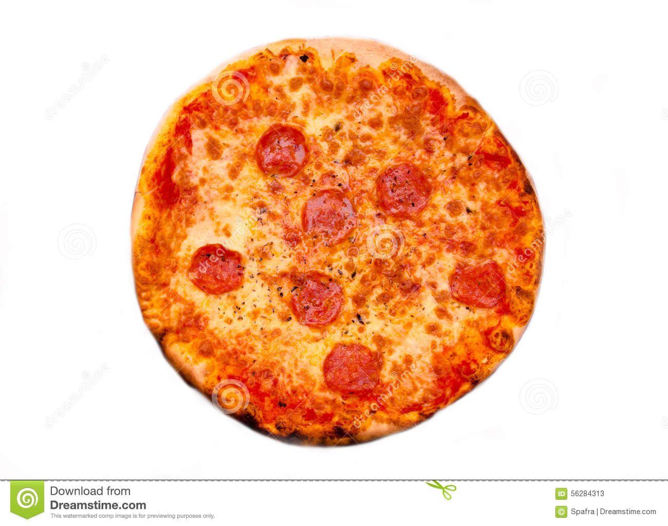 Pizza With Salami From Above Stock Photo Image 56284313