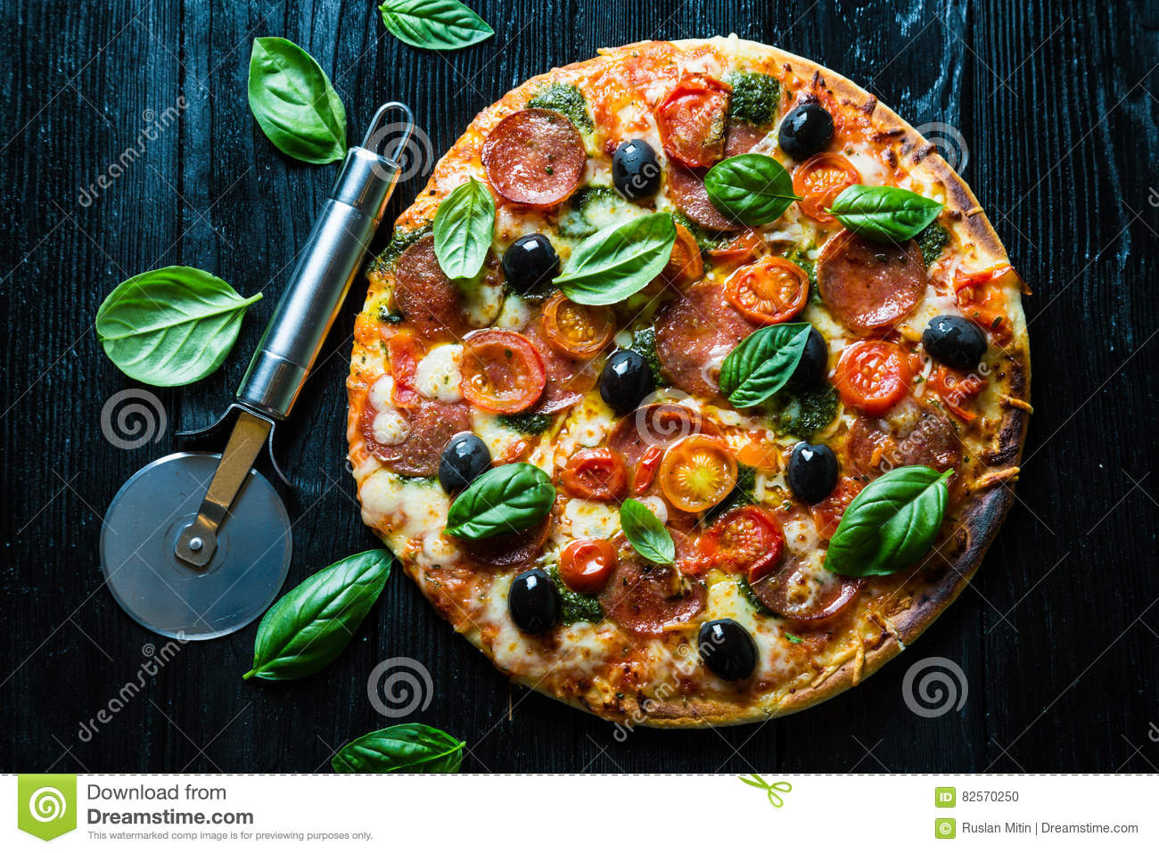 Pizza with salami,