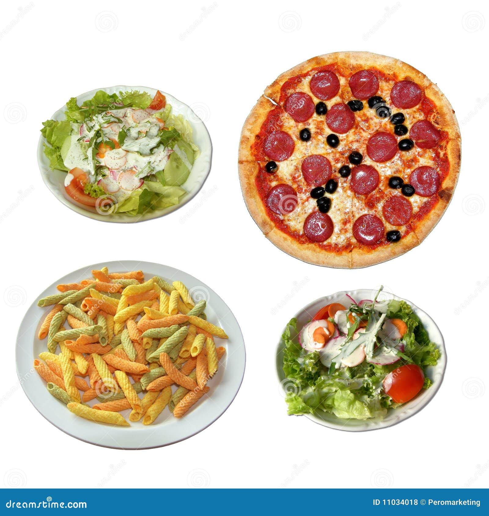 Pizza, salat et pâtes