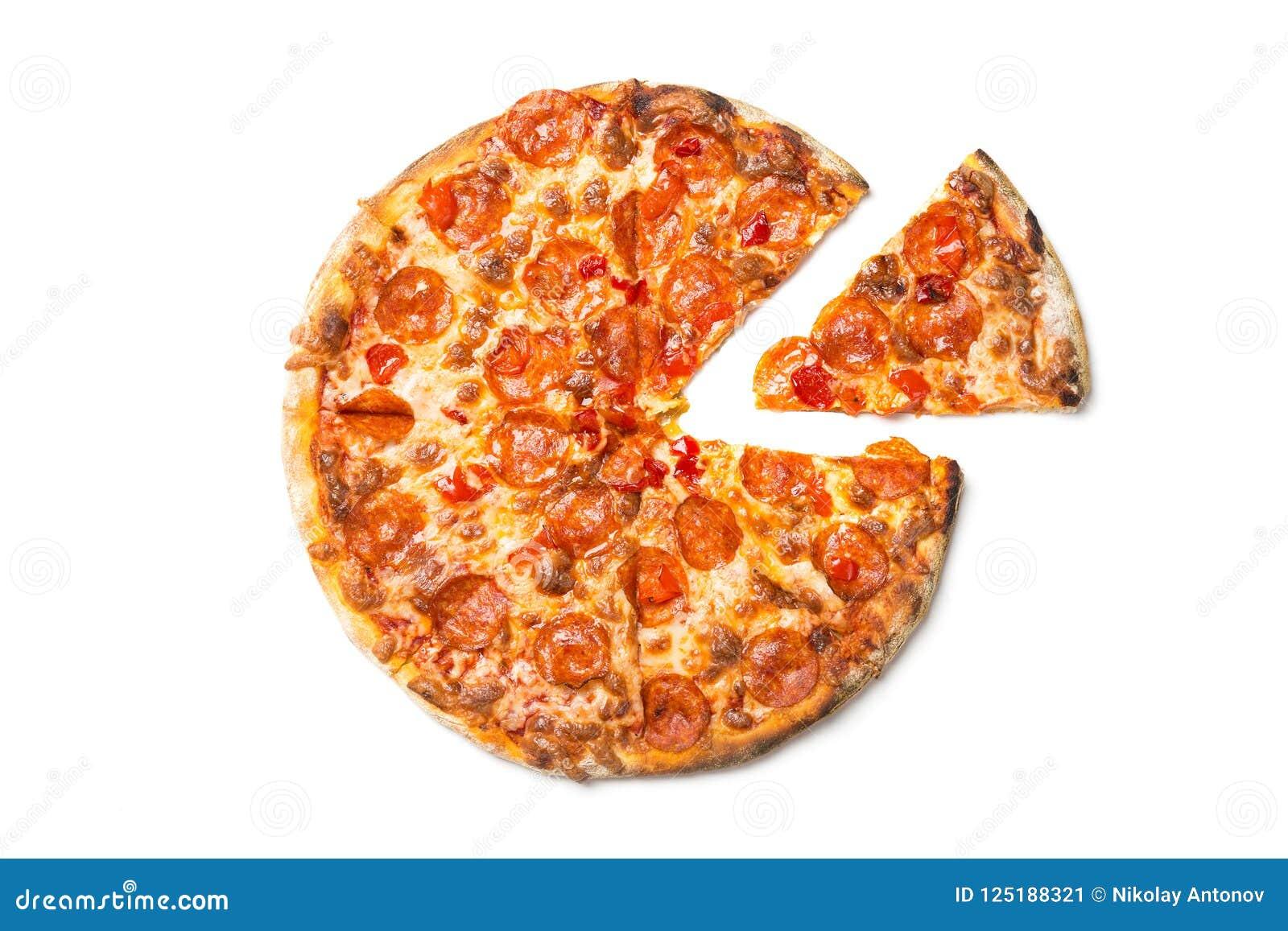 Pizza savoureuse fraîche avec des pepperoni d isolement sur le fond blanc Vue supérieure