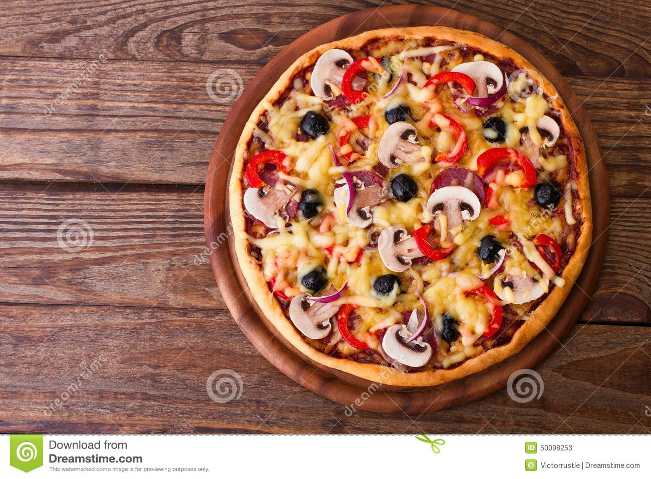 Pizza with seafood on wood table top view stock photo for Table a pizza