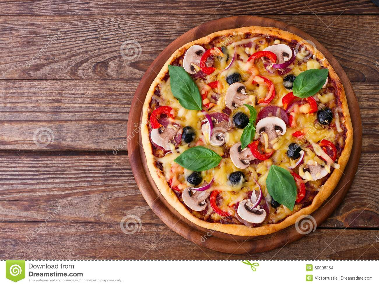 Pizza With Seafood On Wood Table Top View Stock Photo Image Of Pizza Fresh 50098354