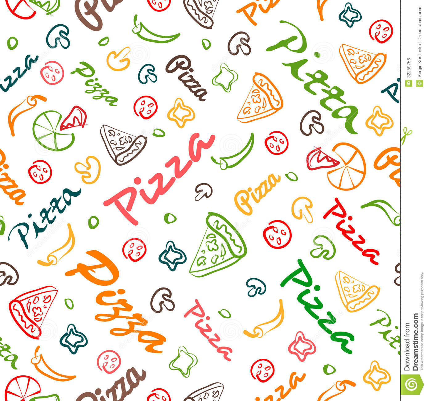pizza seamless pattern with hand drawn elements stock