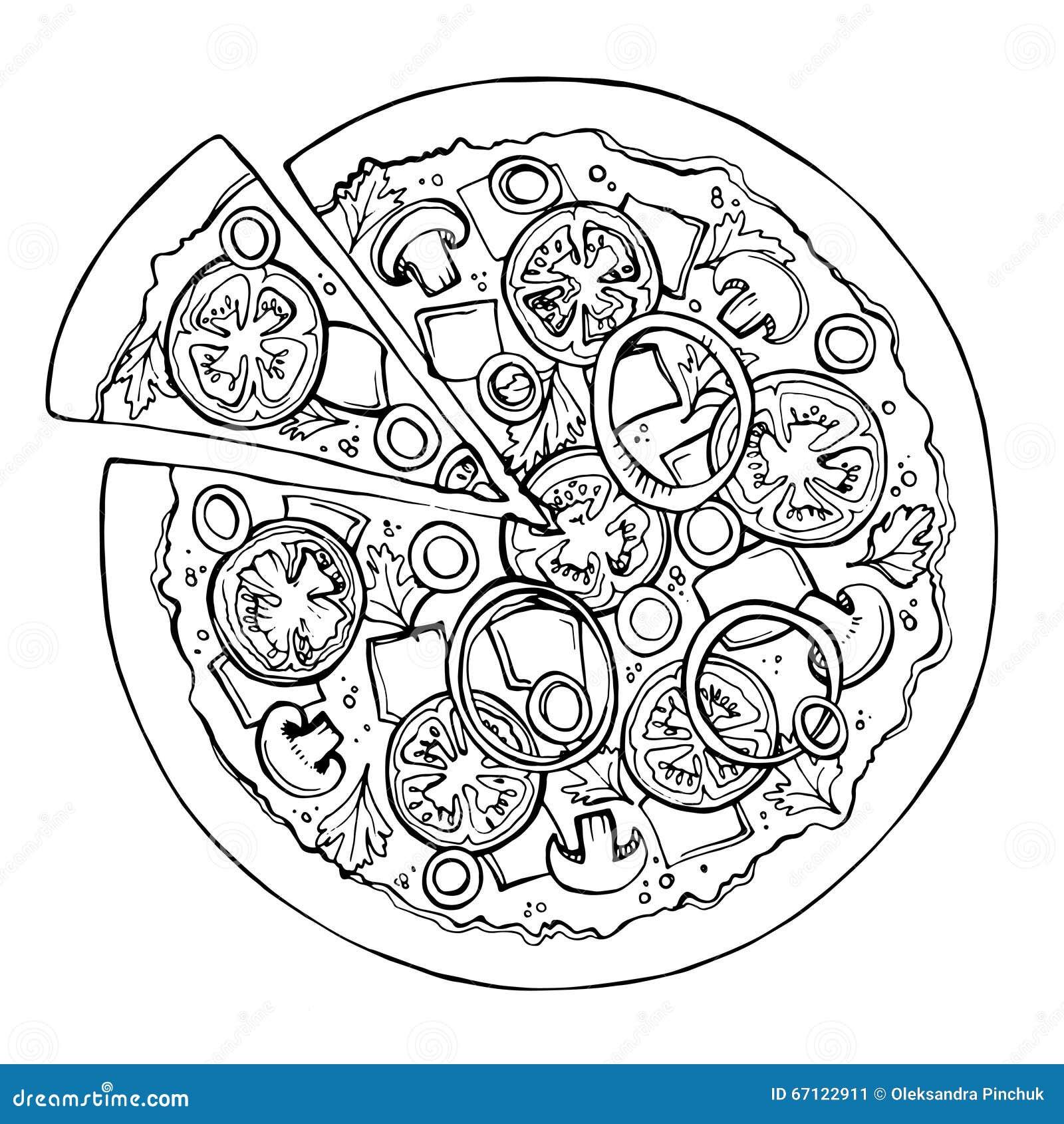 Pizza Sketch. Fast Food. Vector Stock Vector - Illustration Of Design Meat 67122911