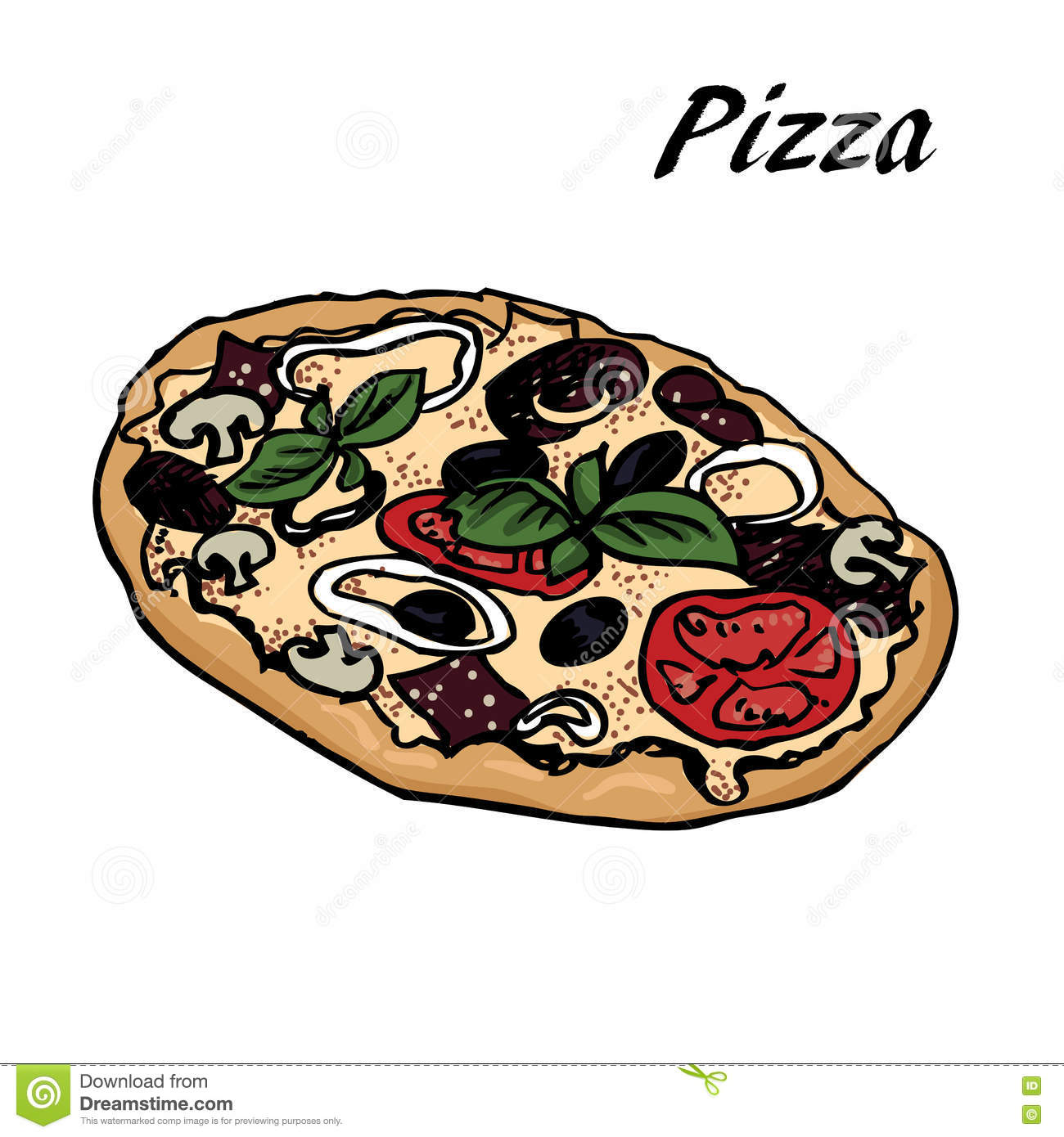 Pizza sketch 13 stock vector. Image of modern, doodle ...