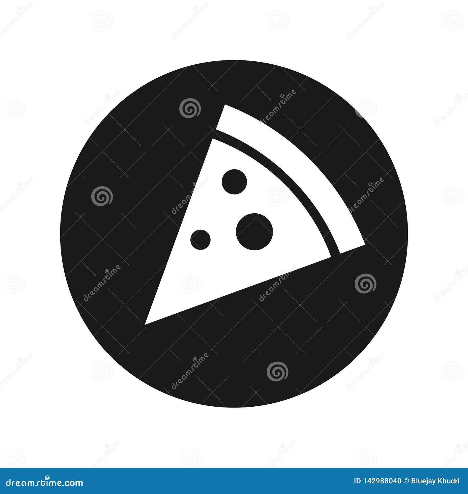 Pizza slice icon flat black round button vector illustration