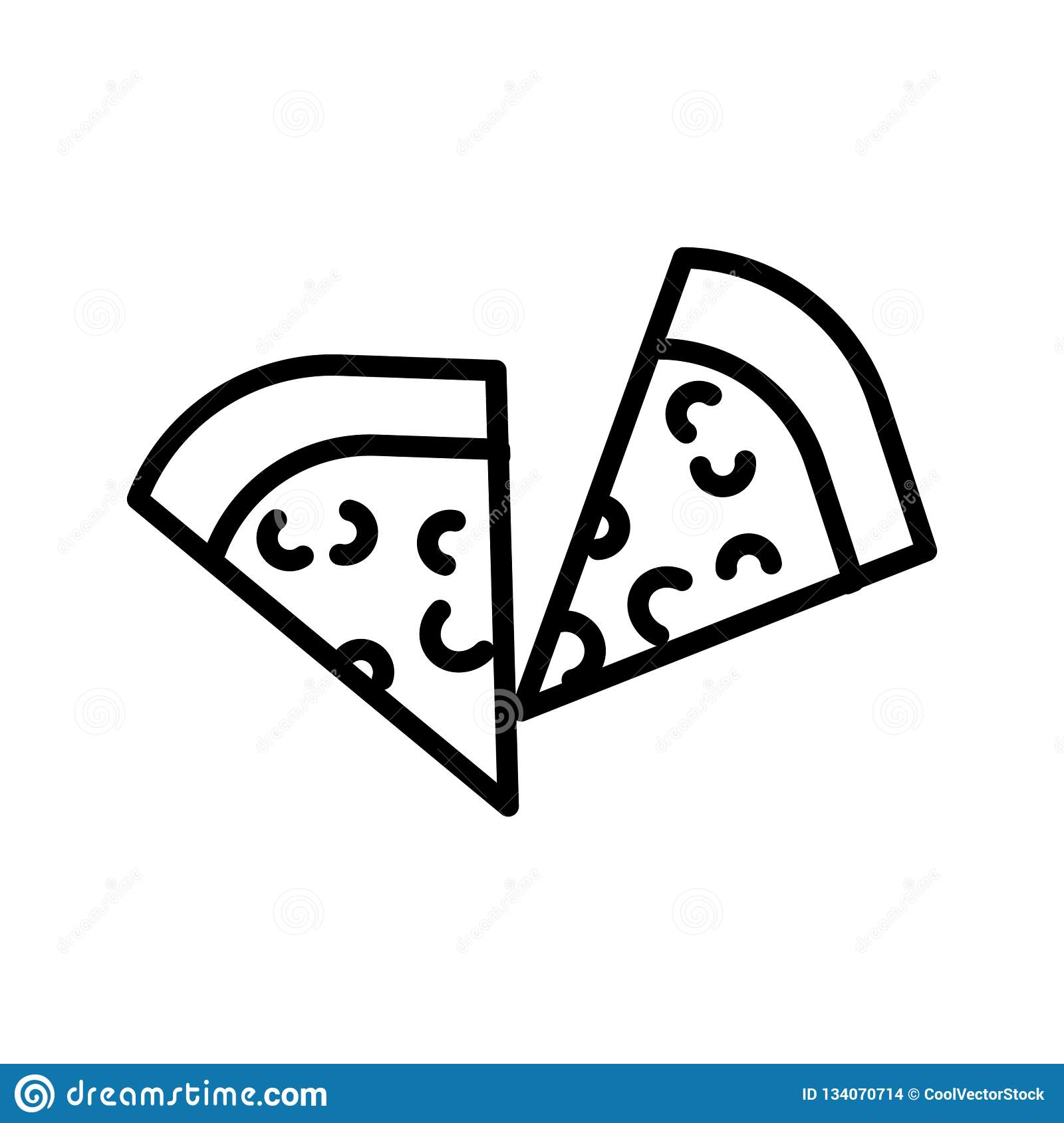 Pizza slice icon vector sign and symbol isolated on white background, Pizza slice logo concept