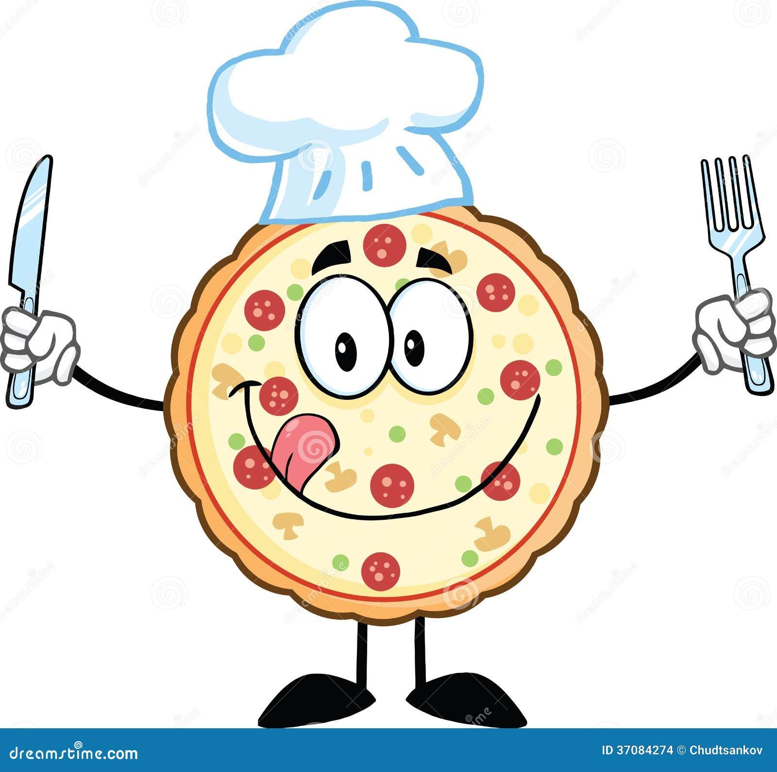 Download Pizza Szefa Kuchni Kreskówki Maskotki Charakter Z Nożem I Rozwidleniem Ilustracji - Ilustracja złożonej z gestykulujący, jedzenie: 37084274