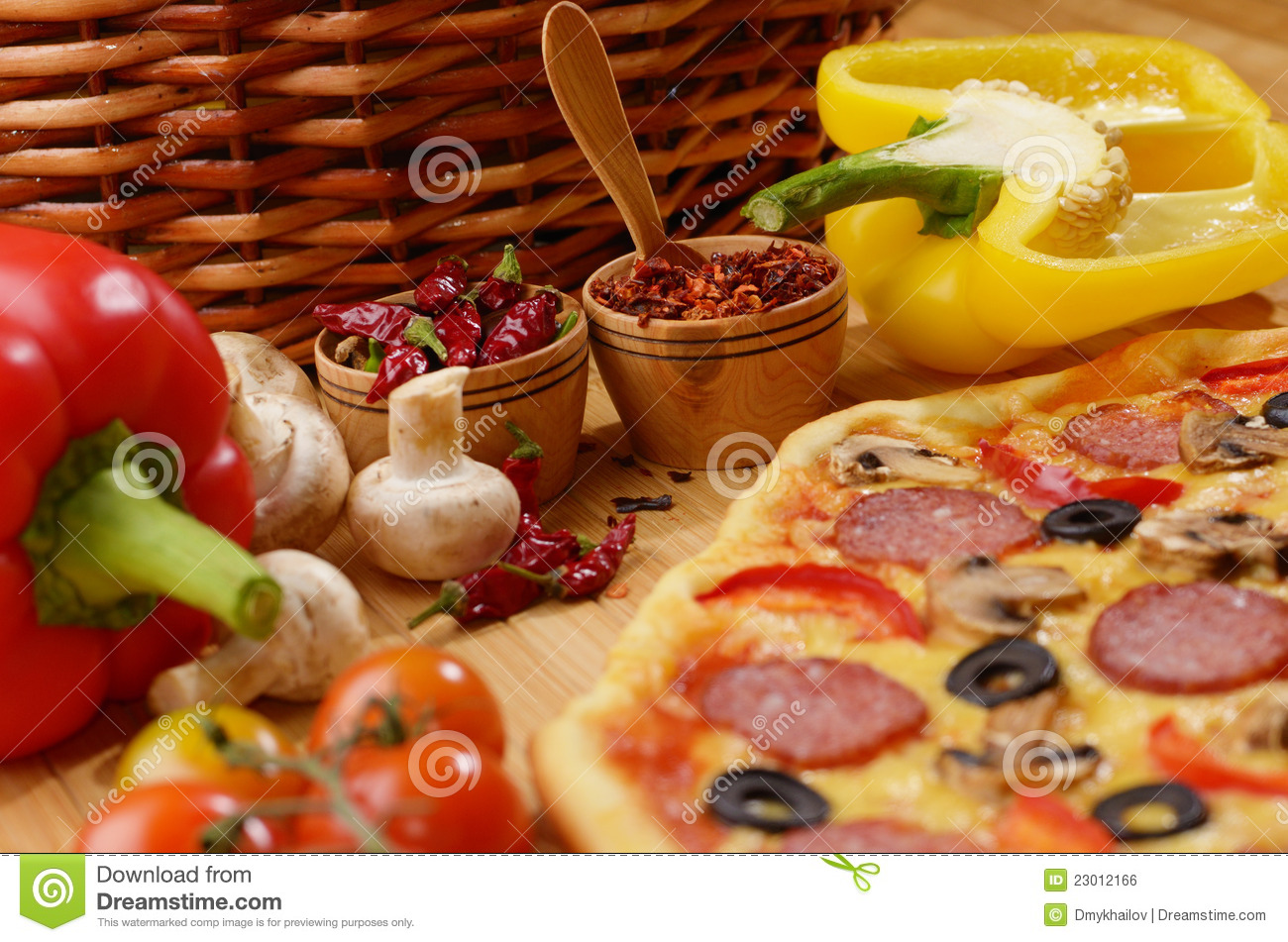 Royalty free stock image pizza on the table image 23012166 for Table a pizza
