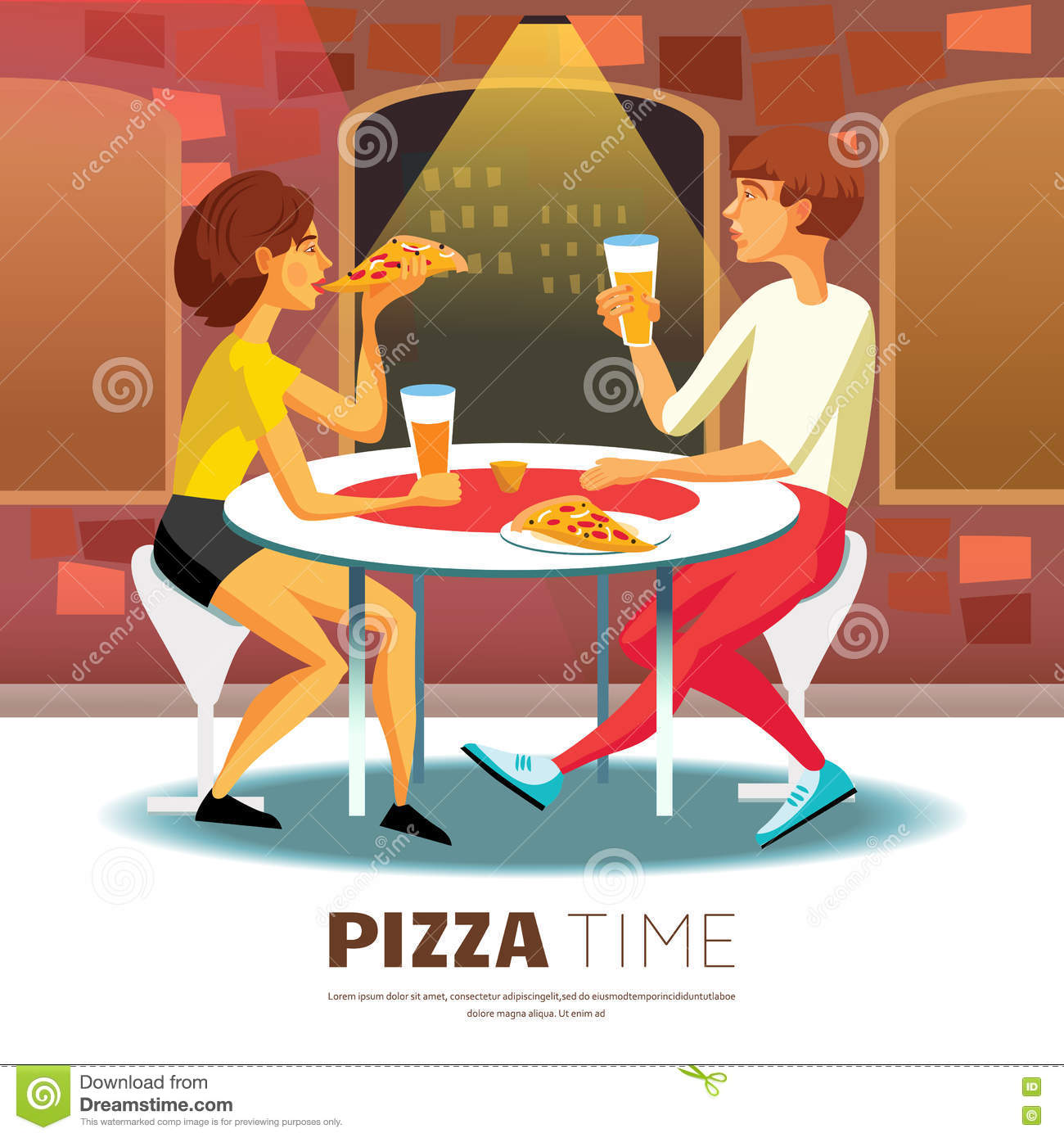 Pizza time illustration stock vector image 72398402 - Decoratie pizzeria ...