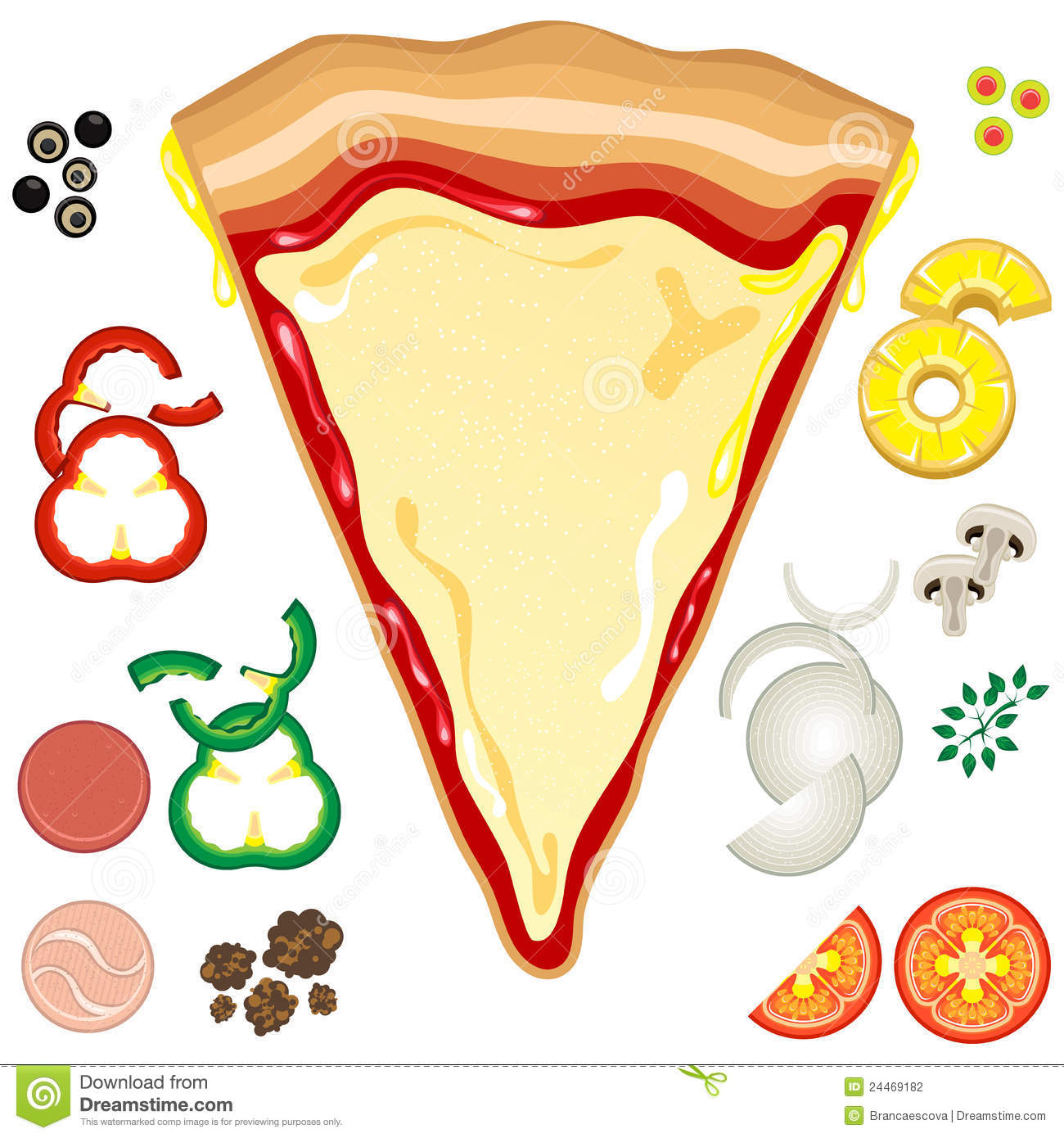 graphic relating to Printable Pizza Toppings named Pizza Toppings inventory vector. Instance of element