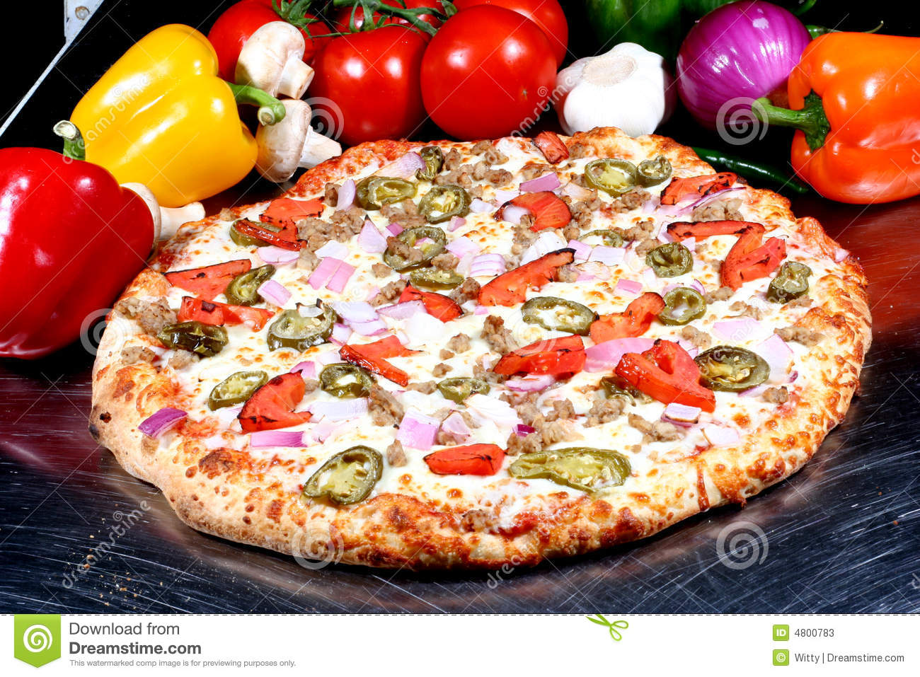Pizza With Toppings Stock Photos - Image: 4800783