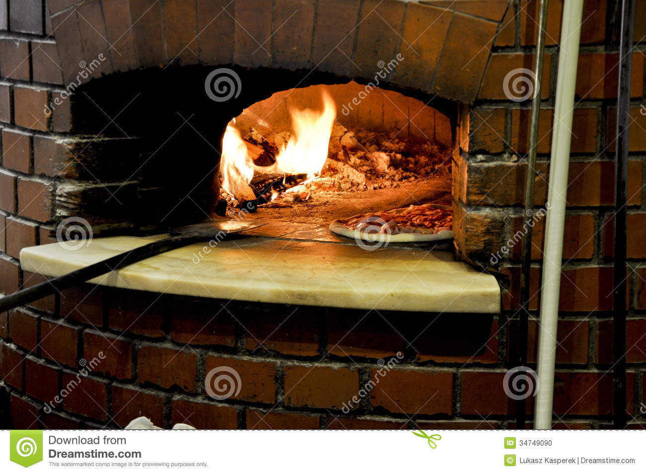 Pizza In A Traditional Oven Stock Photo Image 34749090