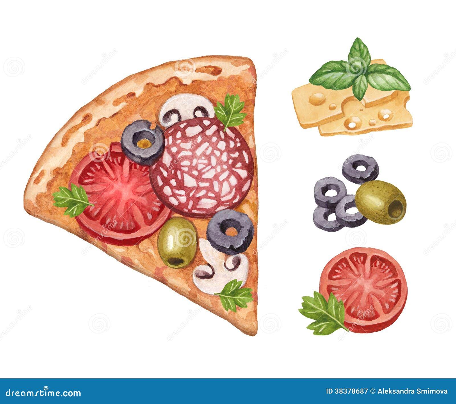 Pizza und Bestandteile