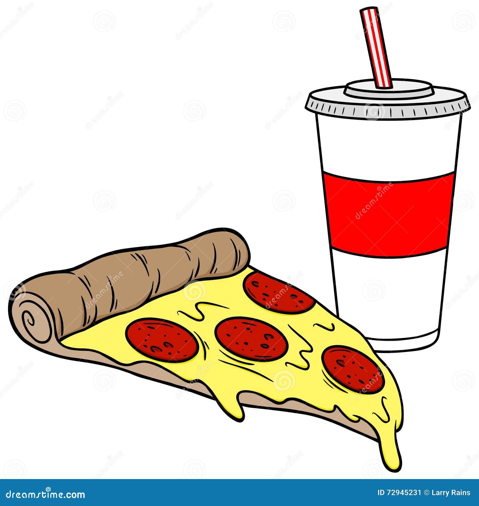 Pizza und Getränk vektor abbildung. Illustration von erschütterung ...