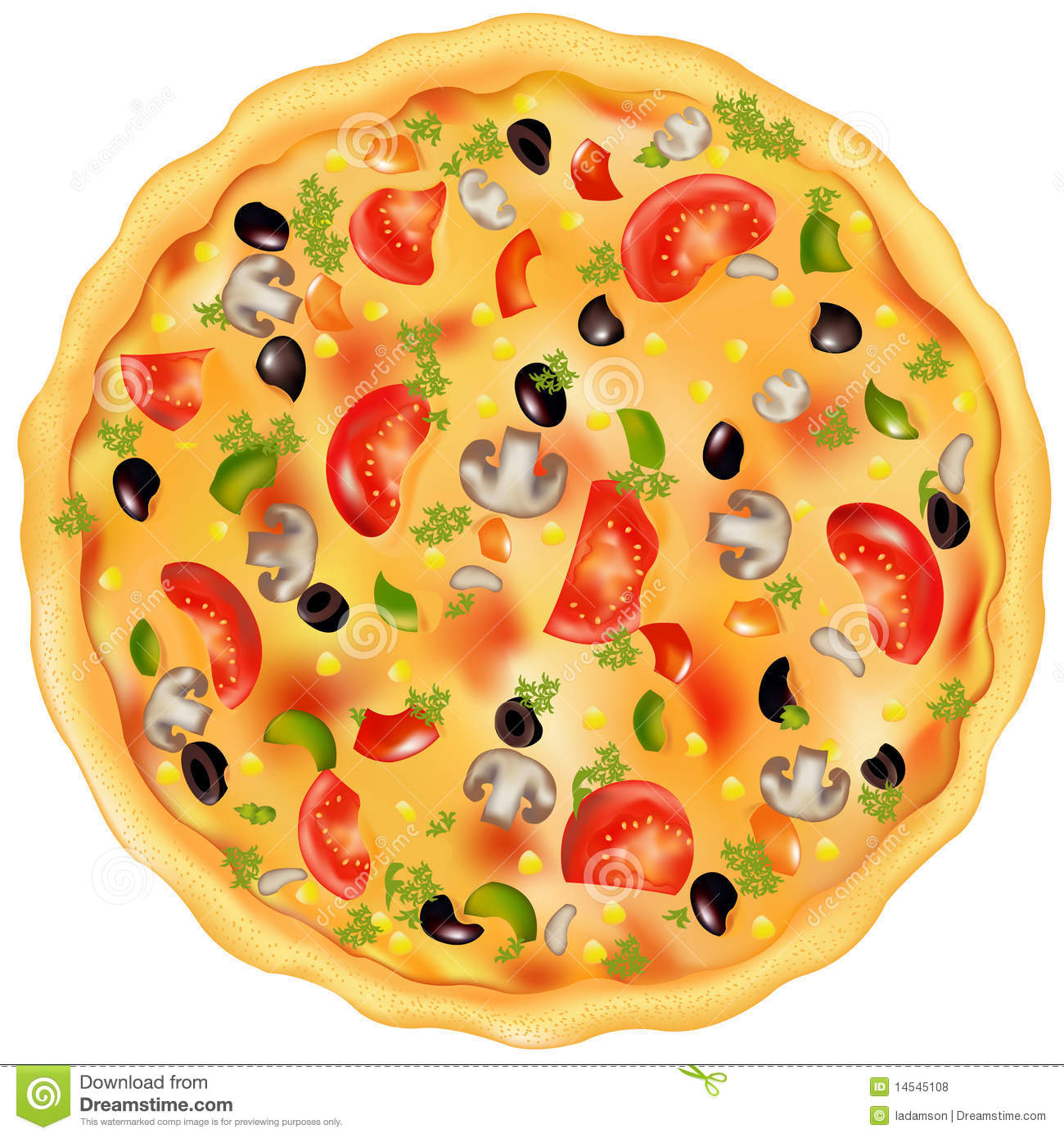 Freshly Baked Pizza With Mushrooms, Tomatos, Olives And Peppers ...
