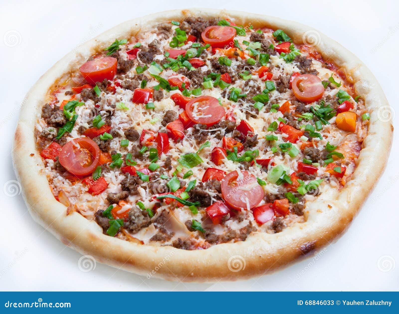 Pizza, verschiedene Arten von Pizzas zum Menü des Restaurants und Pizzeria