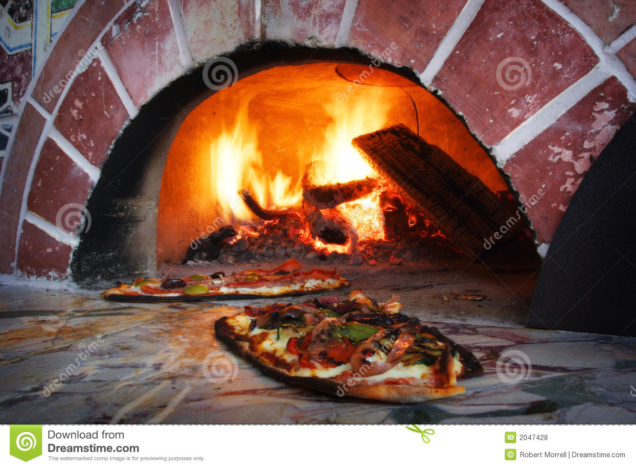 Pizza In A Wood Burning Oven Stock Photo Image Of Embers