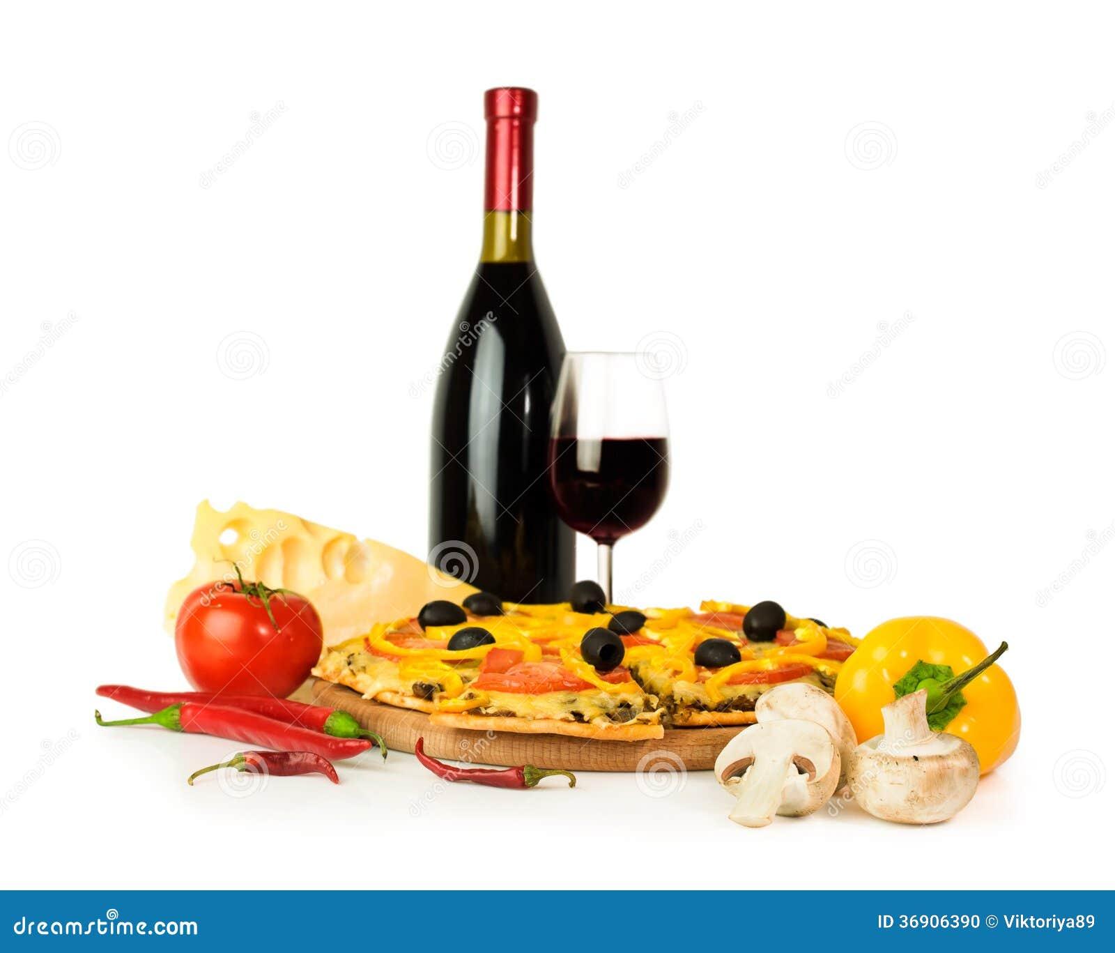 Pizza z winem i składnikami