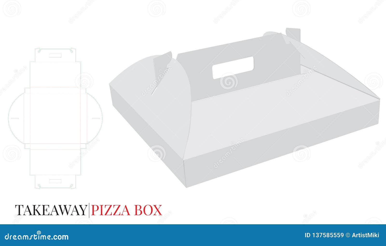 Pizzaask med handtaget, ask för leverans för pappsjälvlås Vektorn med stansat/laser klippte lager