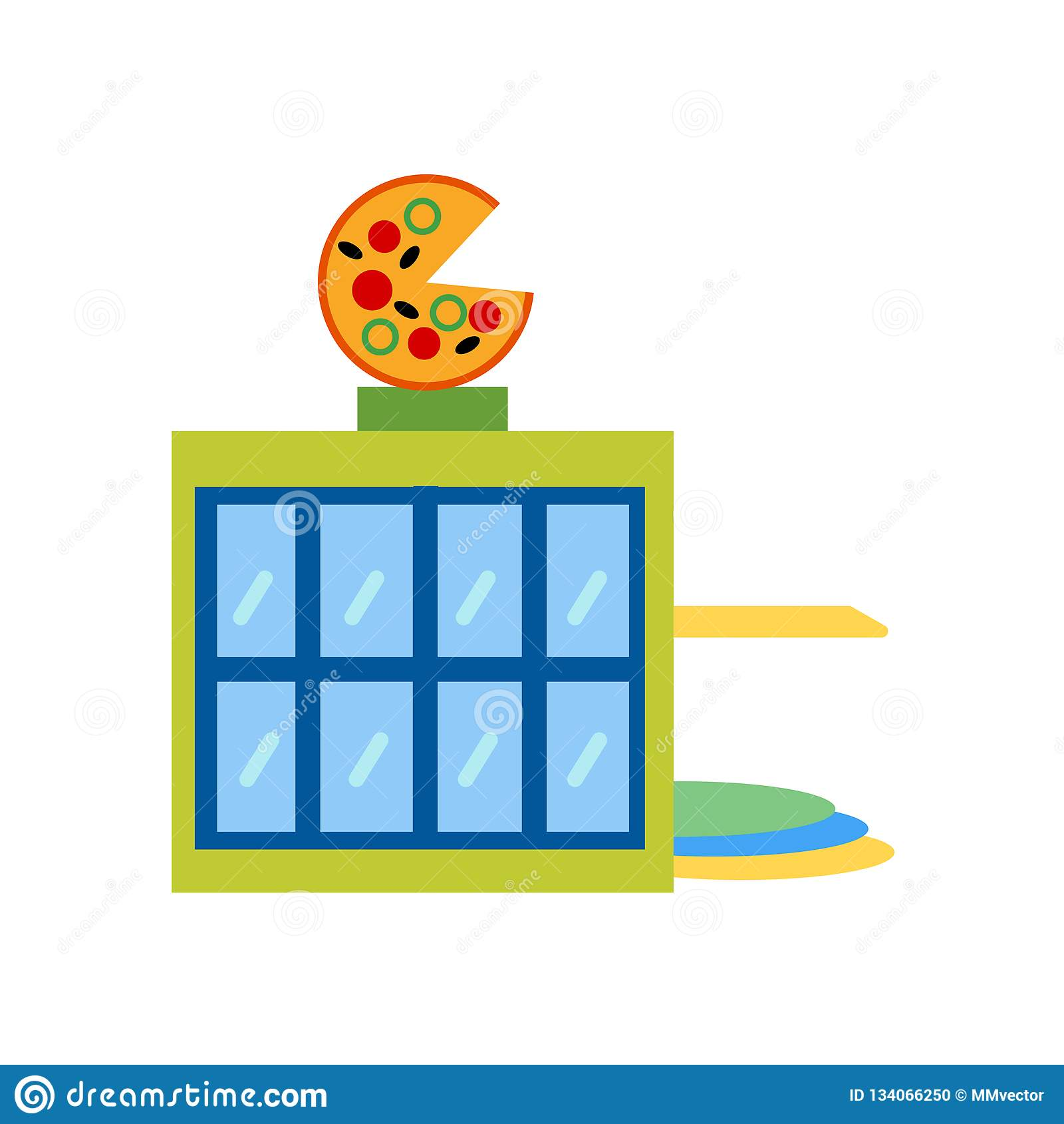 Pizzeria σημάδι και σύμβολο εικονιδίων διανυσματικό που απομονώνονται στο άσπρο υπόβαθρο, έννοια λογότυπων Pizzeria