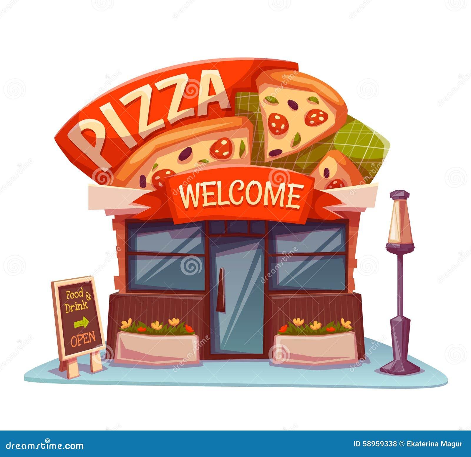 Building cartoon clipart restaurant building and restaurant building - Royalty Free Vector Download Pizzeria Building