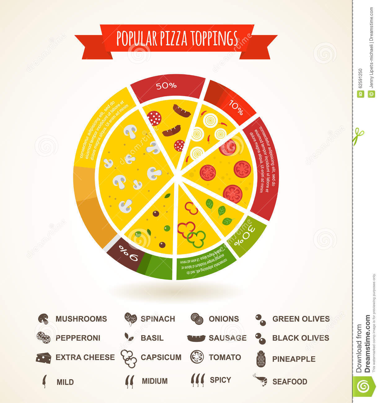 Pizzeria Hot Pizza Fresh Ingredients Infographics Stock
