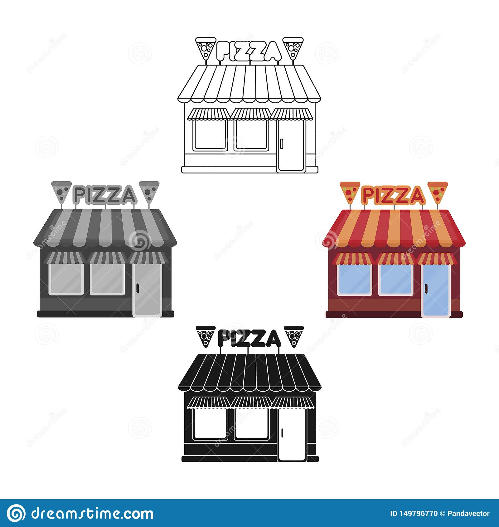 Pizzeria icon in cartoon,black style isolated on white background. Pizza and pizzeria symbol stock vector illustration.