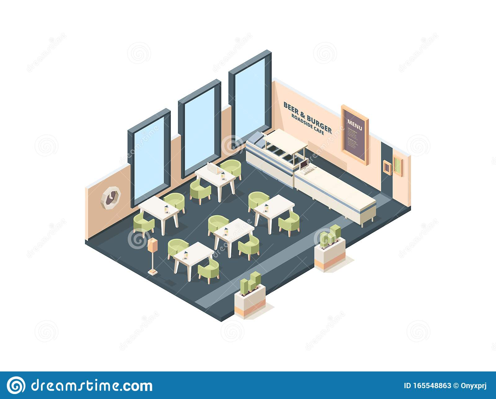 Pizzeria Interior Fast Food Caffe Restaurant Buffet Italian Industrial Office Cross Plan With Furniture Vector Stock Vector Illustration Of Eatery Furniture 165548863