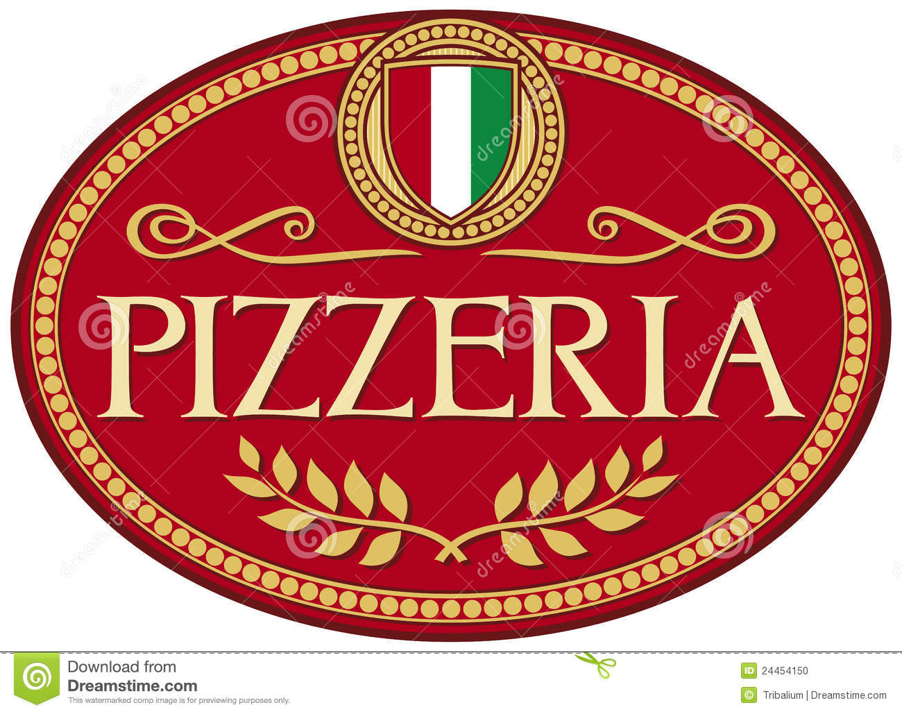 pizzeria label design stock vector  illustration of isolated