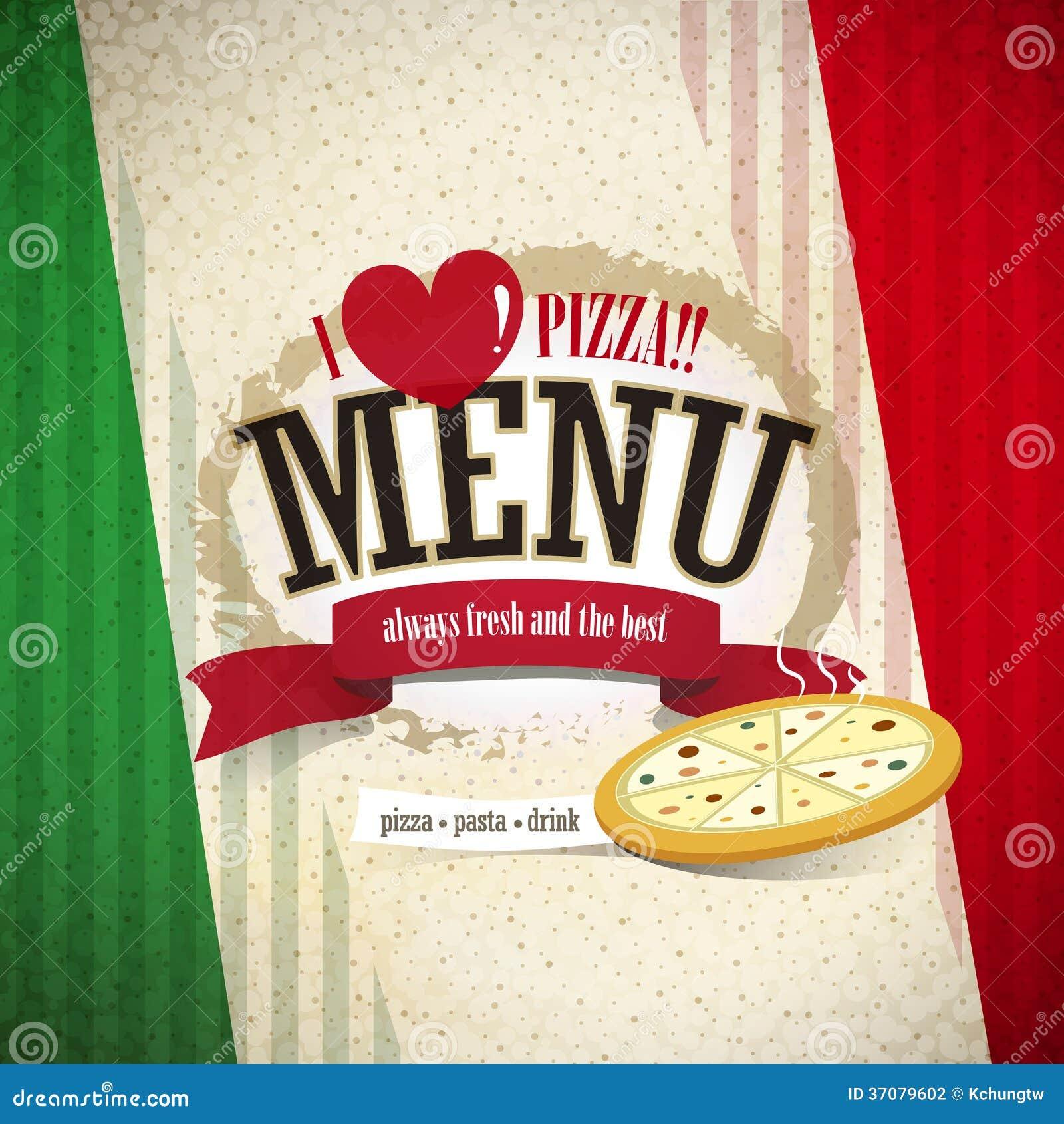 Download Pizzeria menu ilustracja wektor. Ilustracja złożonej z naczynia - 37079602