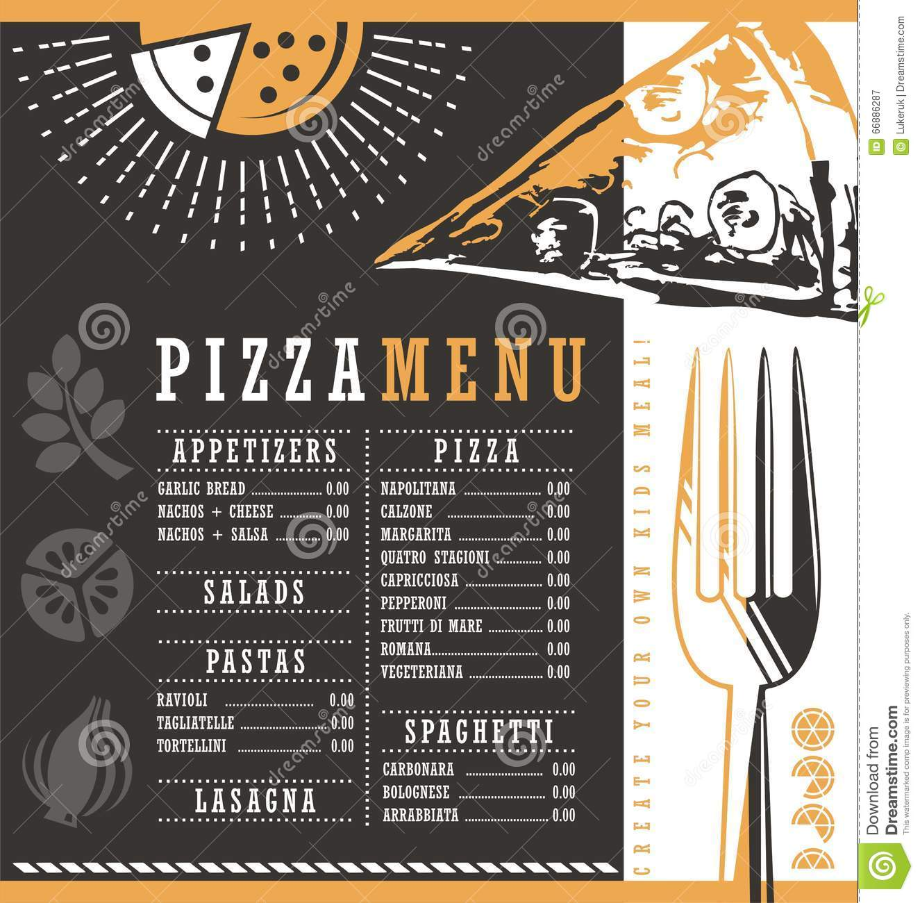 Pizzeria menu graphic design idea stock vector image