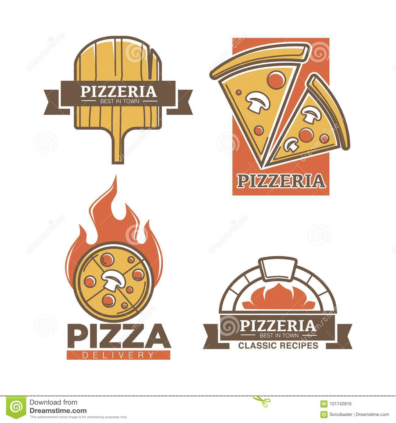 Pizzeria Pizza Vector Icons For Italian Restaurant Delivery Or Sign Stock Vector Illustration Of Fastfood Capricciosa 101742816