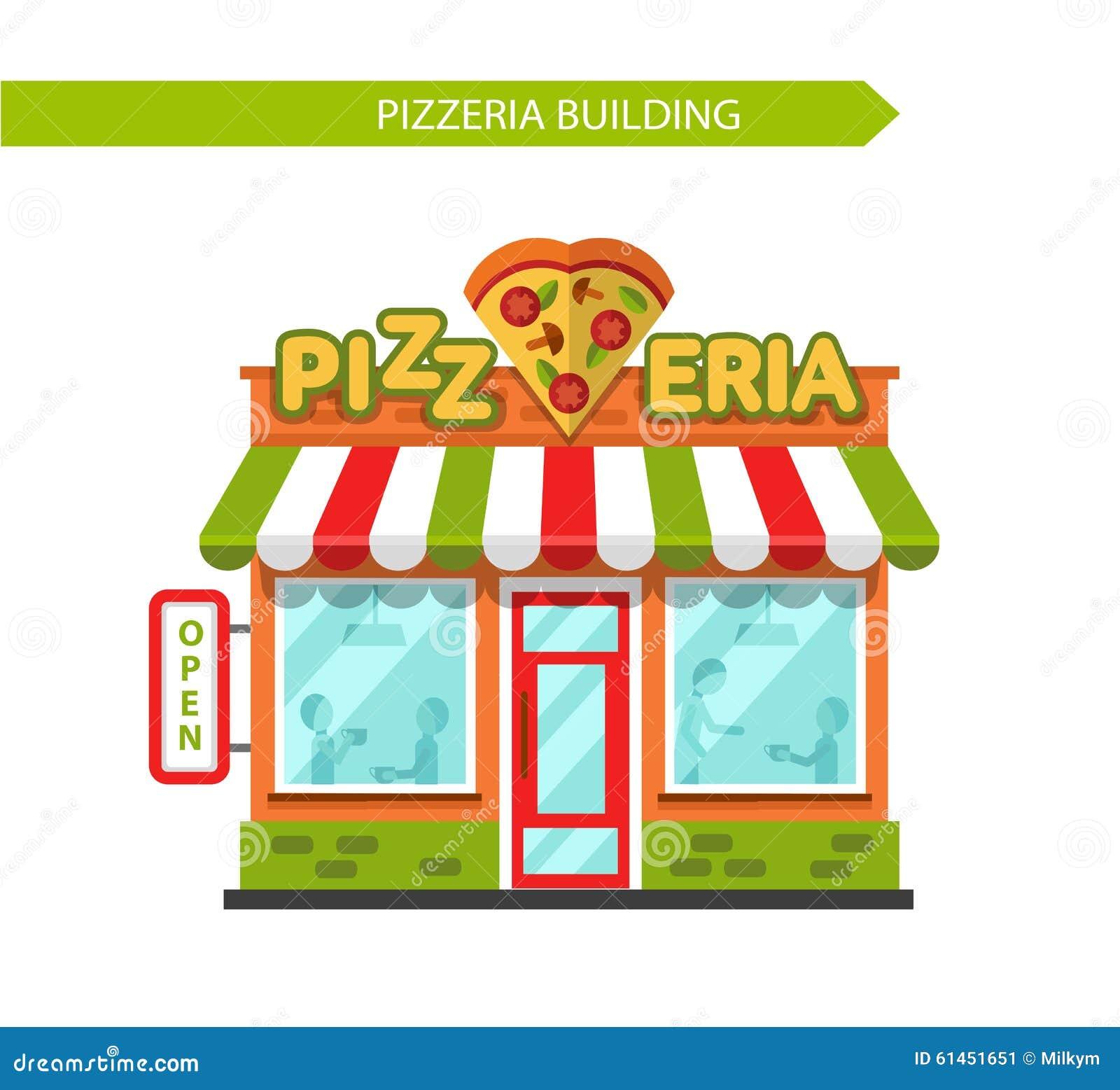 Pizzeria Shop Building Stock Vector Illustration Of