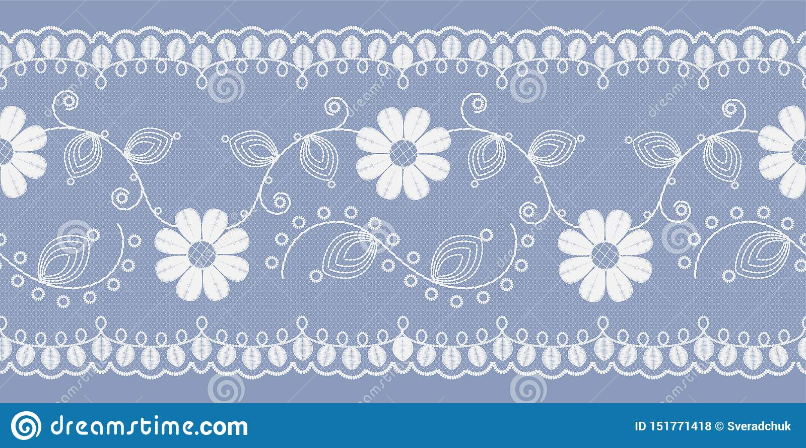 Pizzo floreale leggero bianco su un fondo blu Vettore
